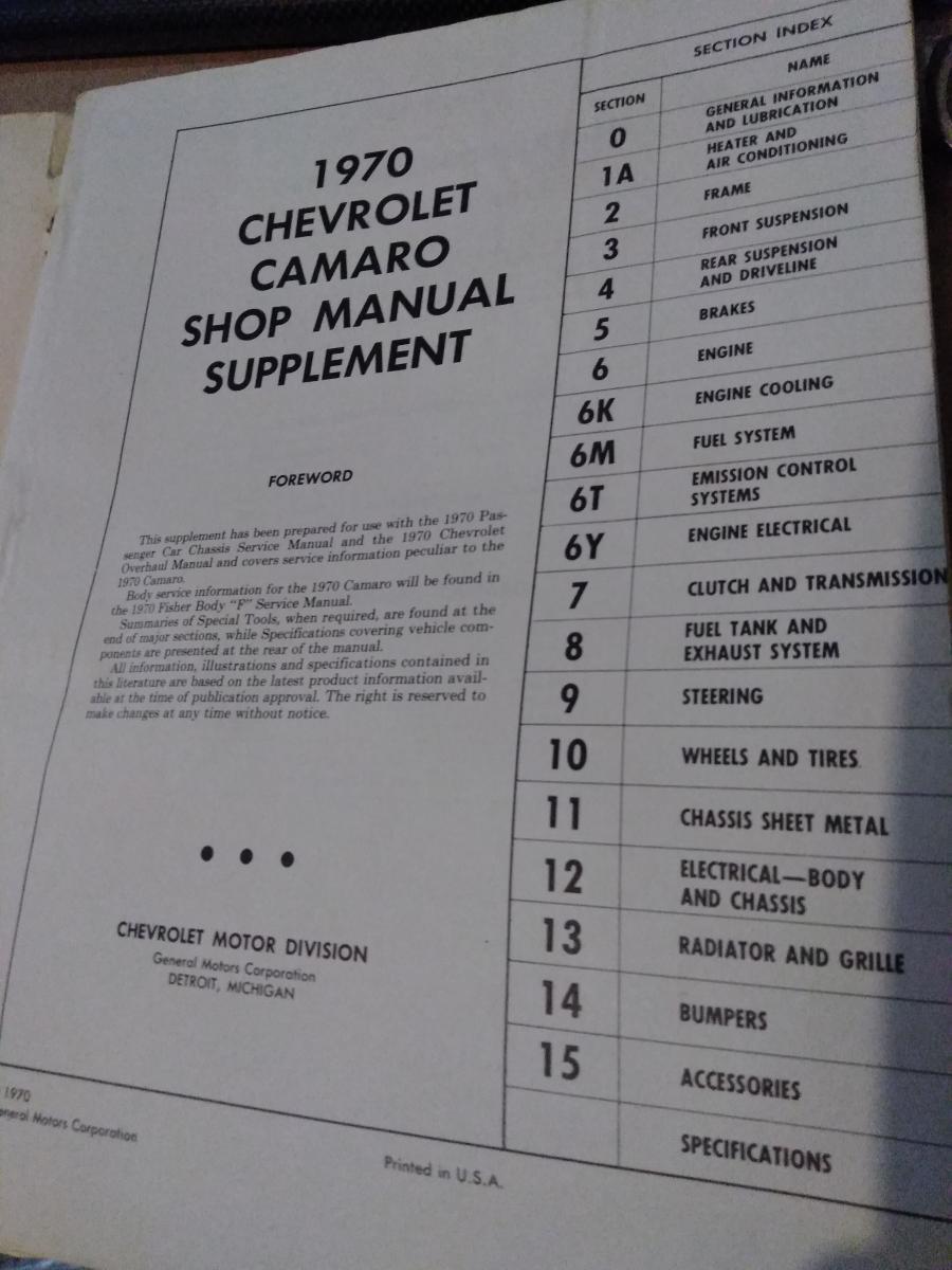 1970 Camaro service & overhaul manual