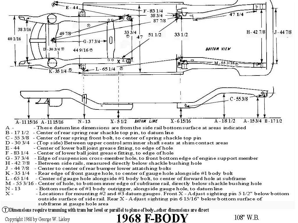 Need 67 A Body Frame Dimensions Asap