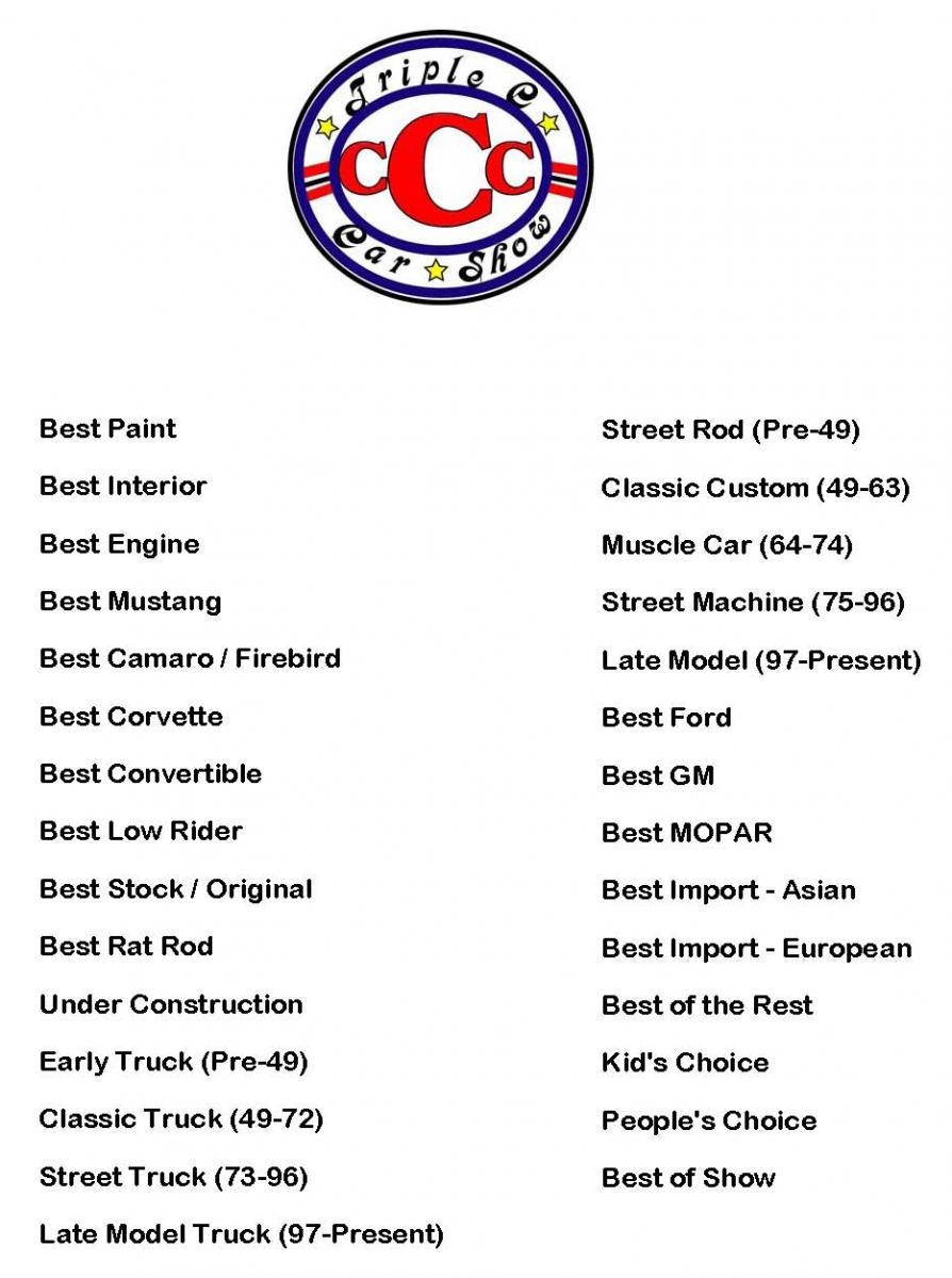 Triple C Car Show - Car show award categories