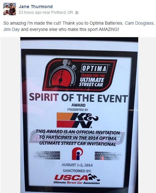 Name:  k&n spirit of the event award to jane thurmond.jpg Views: 424 Size:  95.6 KB